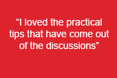 """image text says: """"I loved the practical tips that have come out of the discussions"""""""