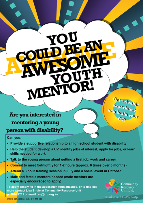 Colourful poster describing cru's youth mentor program