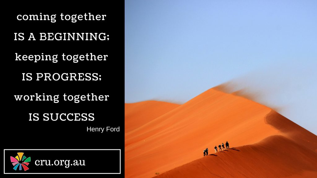 Quote from Henry Ford: Coming Together is a Beginning;Keeping together is progress; working together is success