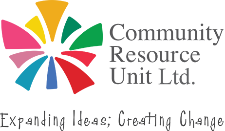 Community Resource Unit Ltd - CRU (logo) Bright colours expanding from central point with the words Community Resource Unit Ltd, Expanding Ideas; Creating Change