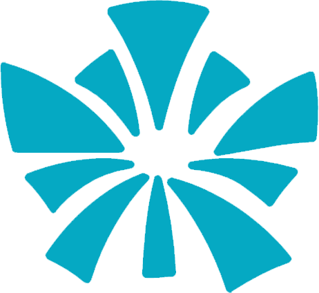 Blue CRU icon which is triangles expanding from a central point