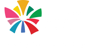 CRU logo - Triangle bursts of colour from the centre with the words Community Resource Unit Inc. Expanding Ideas; Creating change