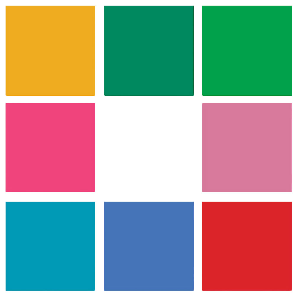 The Good Life Grid of 9 squares in different colours, from top left clockwise: yellow, dark green, bright green, dull pink, red, sky blue, cyan, bright pink, white in the middle.