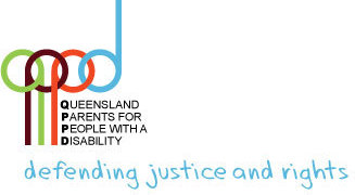 The logo for QPPD - Queensland Parents for People with a Disability. Tagline: defending justice and rights.