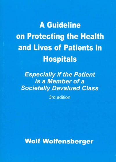 The cover of A guideline on protecting the health and lives of patients in hospitals