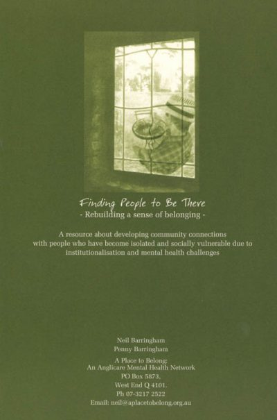 The back cover of the book Finding people to be there