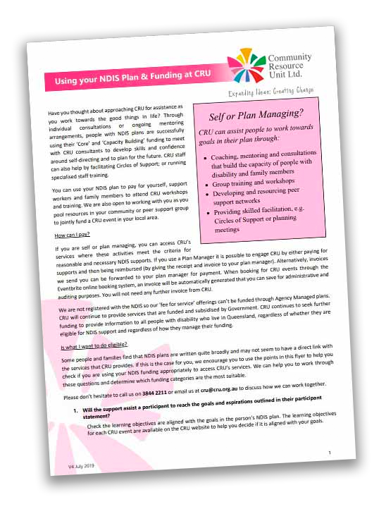 the cover of flyer titled using your NDIS plan at cru
