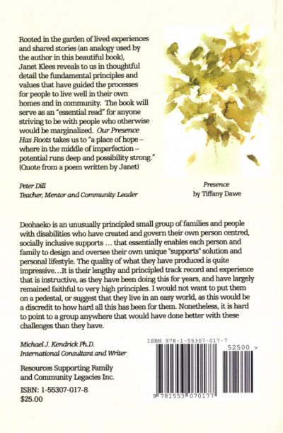 The back cover of the book Our presence has roots