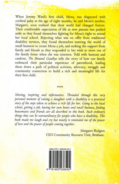The back cover of the book The Shouted Goodbye