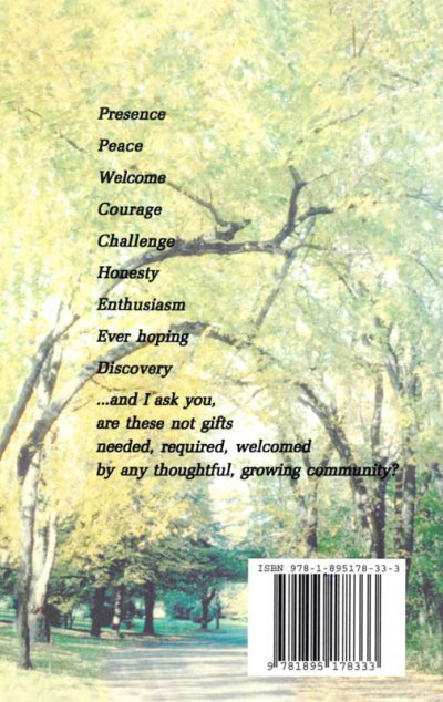 The back cover of the book We come bearing gifts