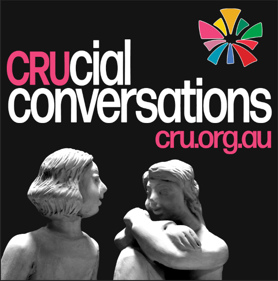 Two clay figures talking with the words above crucial conversations cru.org.au