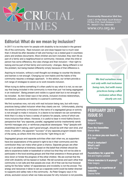 The cover page of crucial times edition 51: What do we mean by inclusion?