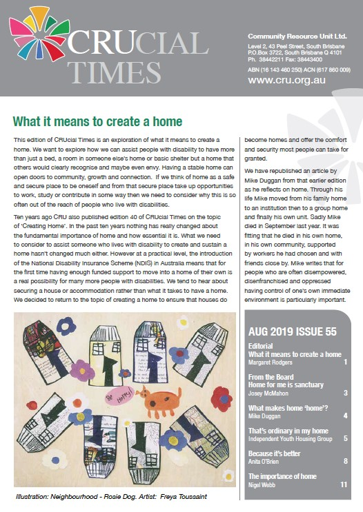 The cover of crucial times 55: what it means to create a home