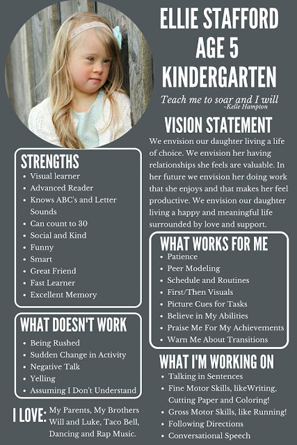 One page profile for Kindy student Ellie Stafford