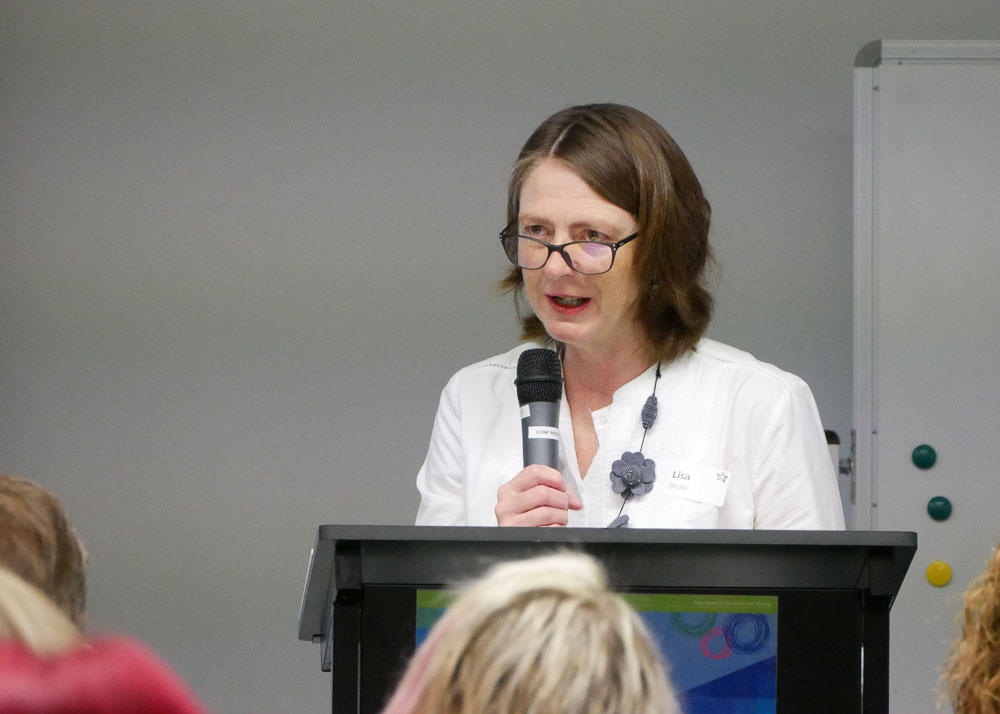 Lisa bridle presenting to a group