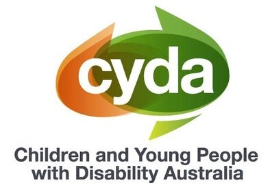 A colour logo roughly in the shape of australia with the words cyda - Children and young people with disability australia