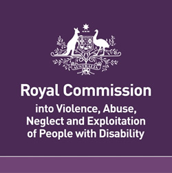 The australian goverment logo at the text: Royal commission in to violence, abuse, neglect and exploitation of people with disability