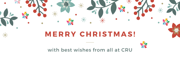 Christmas festive banner with the words merry christmas with best wishes from all at cru