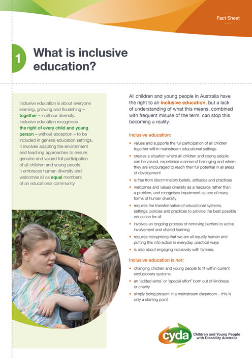 Cover of fact sheet titled what is inclusive education