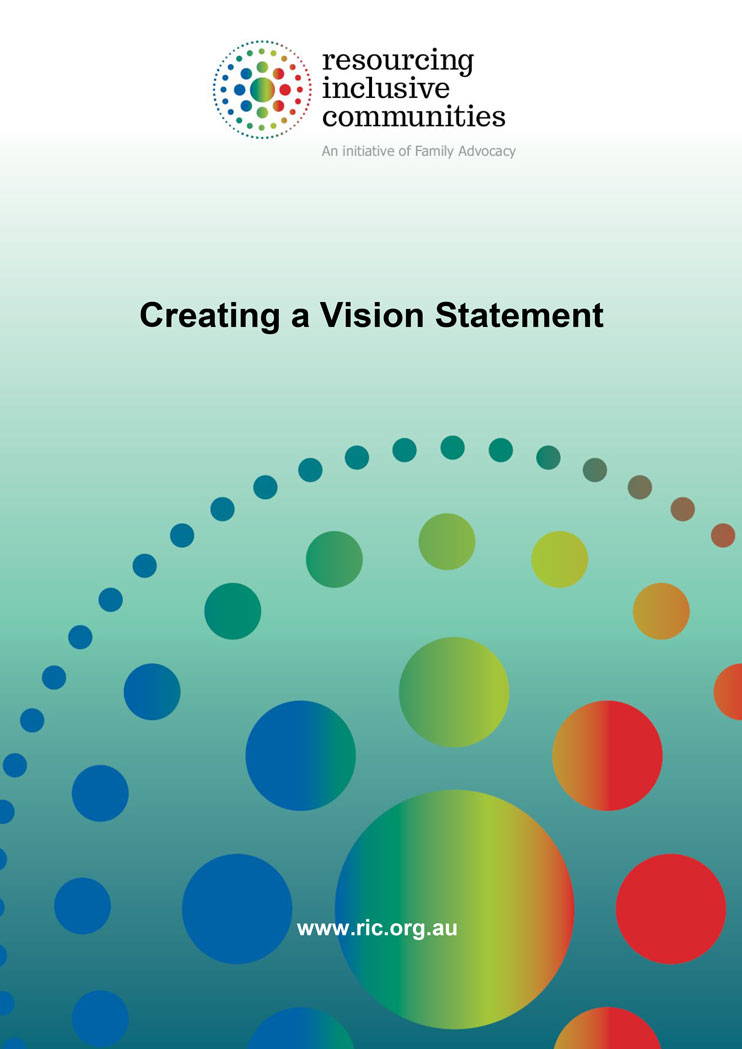 The cover of the workbook 'creating a vision statement'