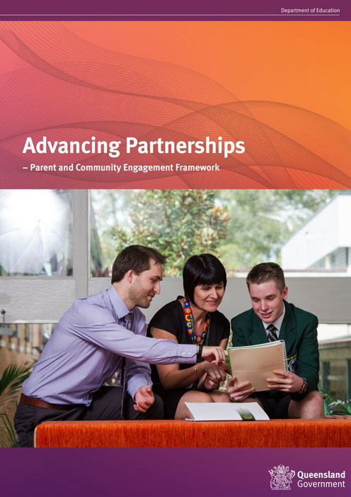 The cover of a booklet with the title 'advancing partnerships: parents and community engagement framework'. It has a male teacher pointing at a notepad in front of a mother and her son.