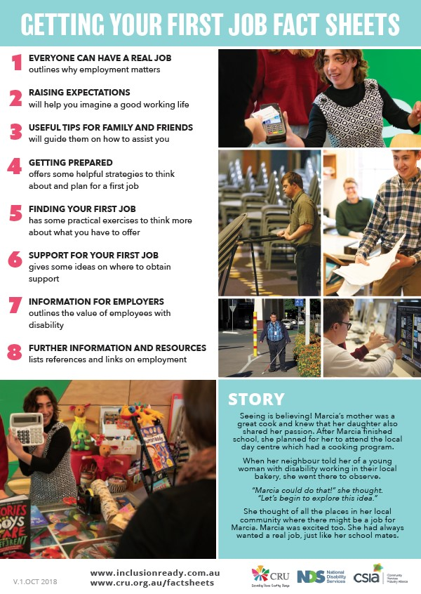The front page of the fact sheet. It has lots of images of people with disability at work in ordinary workplaces. It has the title 'getting your first job fact sheets'.