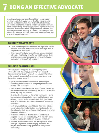 The cover of factsheet 7 - being an effective advocate. It has three images of children with disability happy in their local school with their friends who do not appear to have disability