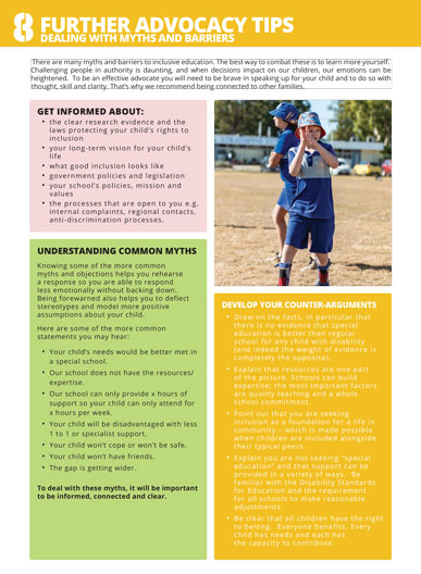 The cover of factsheet 8 - dealing with myths and barriers. It has a young man with disability in his school uniform playing sport on an oval with his peers at school