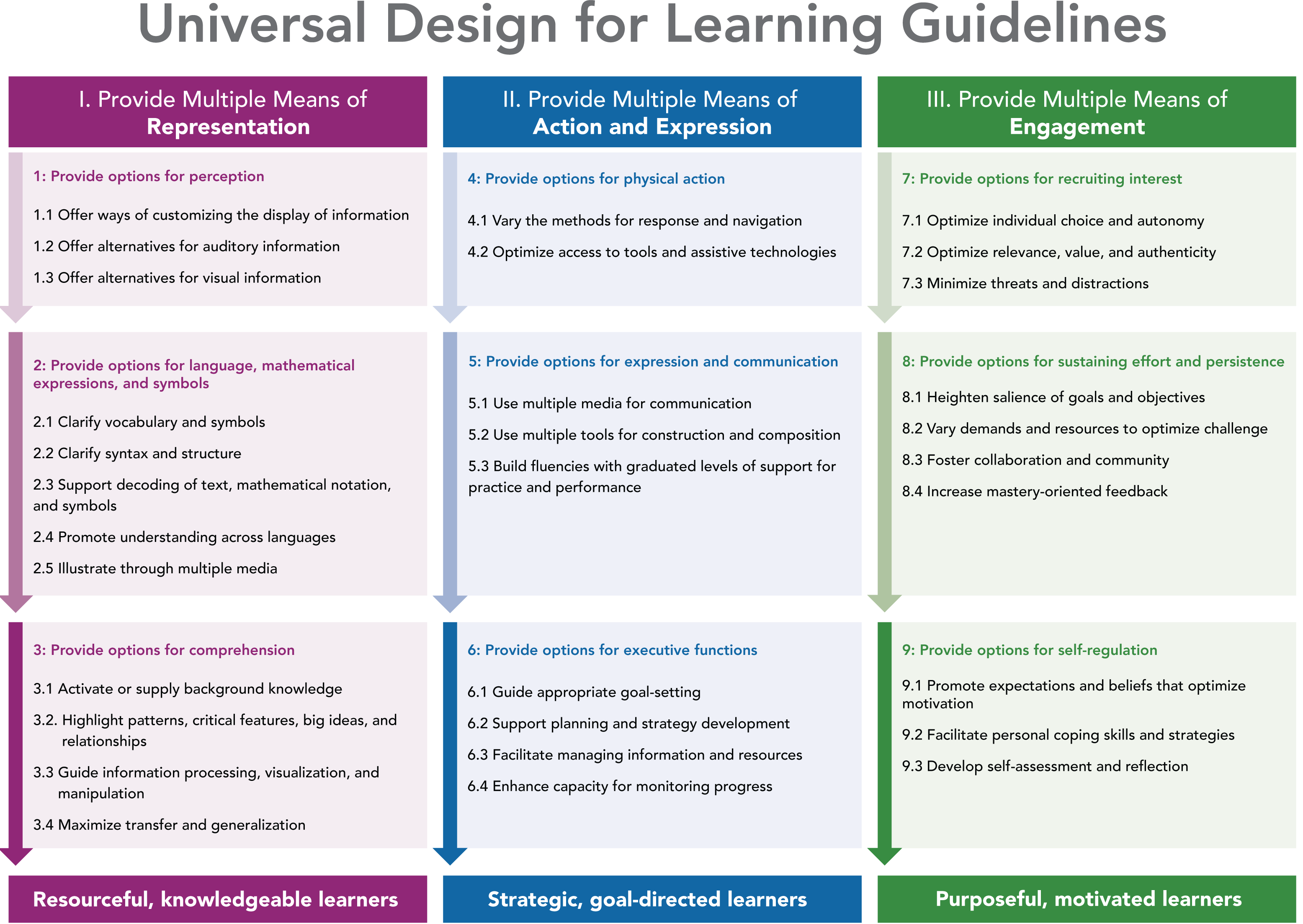 A table of 3 columns of Universal Design for Learning Guidelines.  The first is provide multiple means of representation.  The second is provide multiple means of action and expression.  The third is Provide multiple means of engagement.