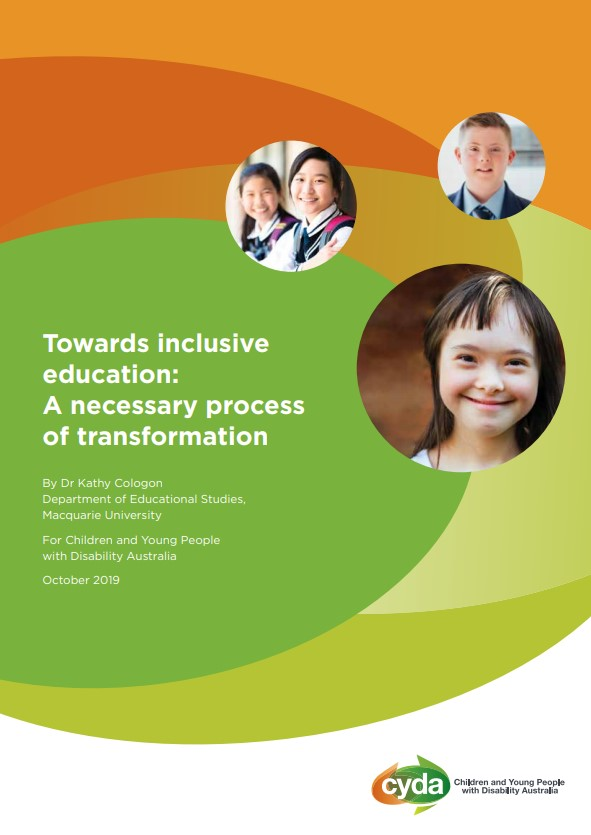 The cover of the report:  Towards Inclusive Education:  A necessary process of transformation