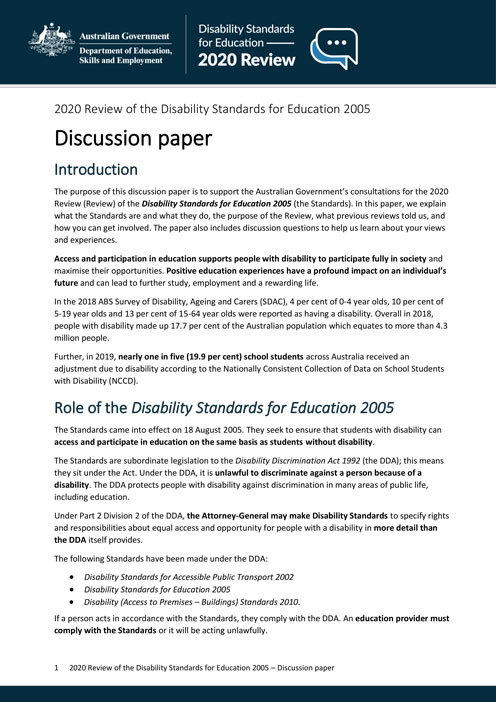 The Front page of the discussion paper of the 2020 review of the disability standards for education 2005