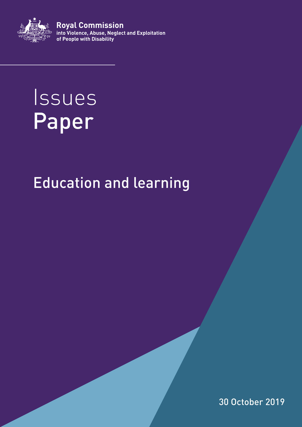 The purple cover of the disability royal commission issues paper. It has the title Issues Paper: Education and learning
