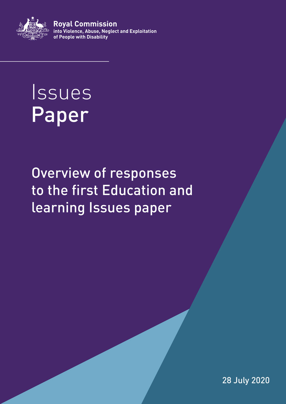 The purple cover of the disability royal commission issues paper. It has the title Issues Paper: Overview of responses to the first education and learning issues paper