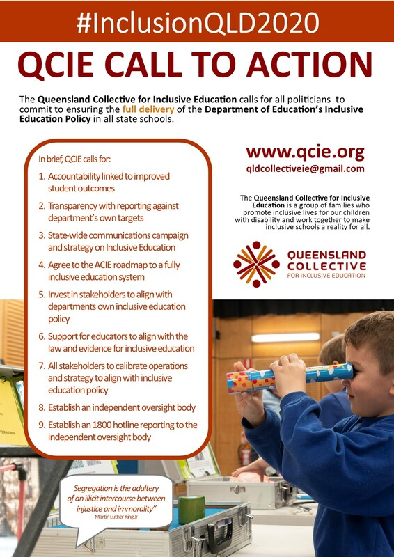 The cover of the QCIE call to action poster. It includes the hashtag #inclusionQLD2020 and a list of the issues QCIE seeks to highlight. It includes an image of a young boy looking down a cardboard tube like a telescope