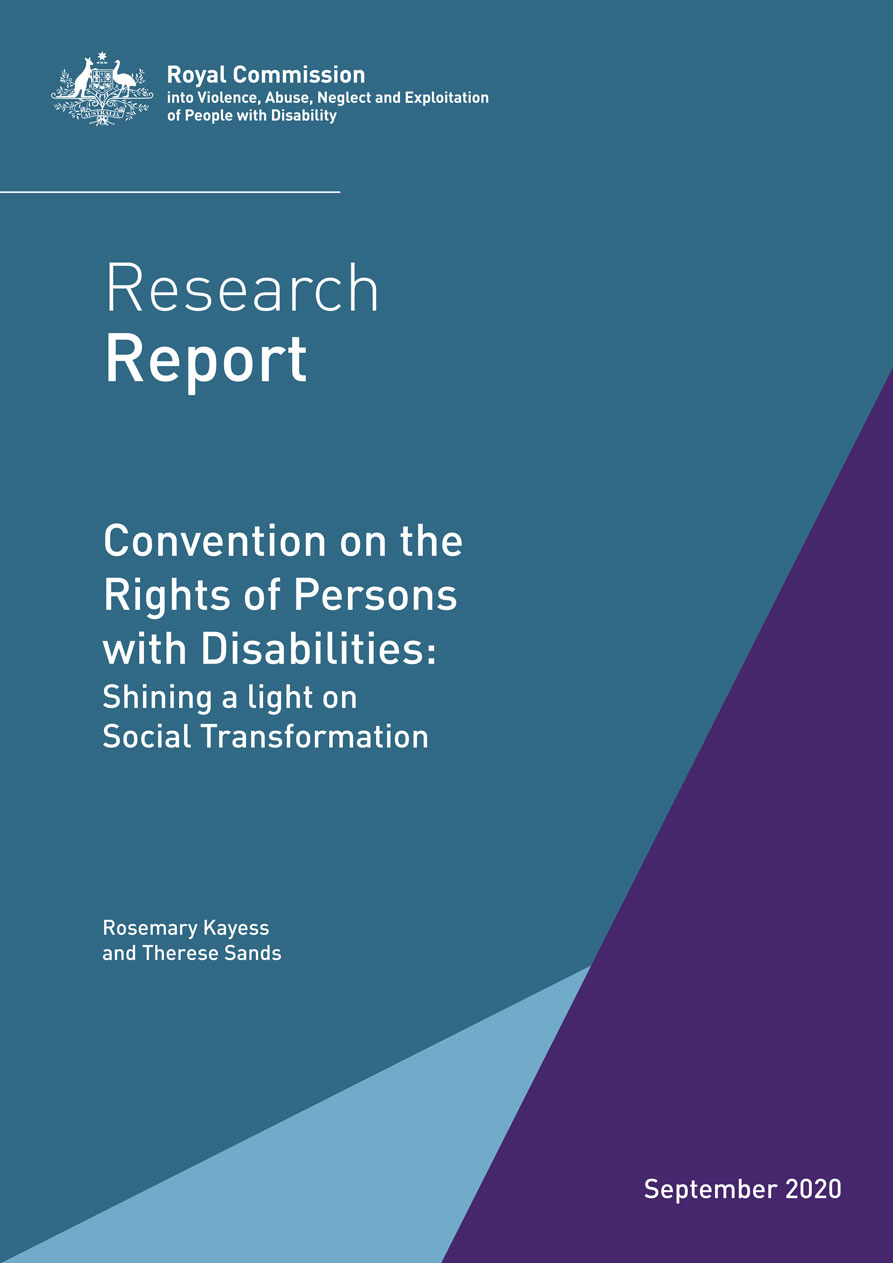 The blue cover of the research report by the disability royal commission: ReportConvention on the Rights of Persons with Disabilities: Shining a light on Social Transformation