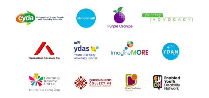 The 12 logos of the member organisations of acie. CYDA, All means all, Purple Orange, Family Advocacy, QAI, YDAS, Imagine MOre, YDAN, CRU, QCIE, Down Syndrome Australia and Enabled Youth Disability Network