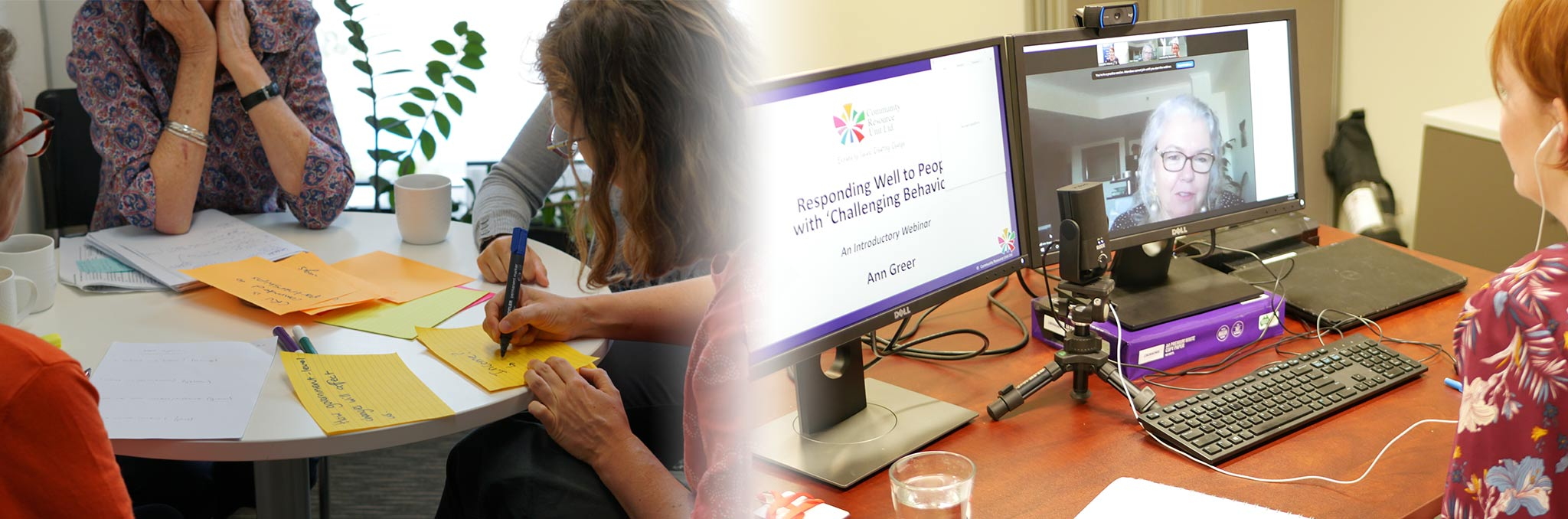 A banner with two images. The first is a group of people at a table writing notes in a planning session. The other is a woman sitting at a computer while hosting a webinar.
