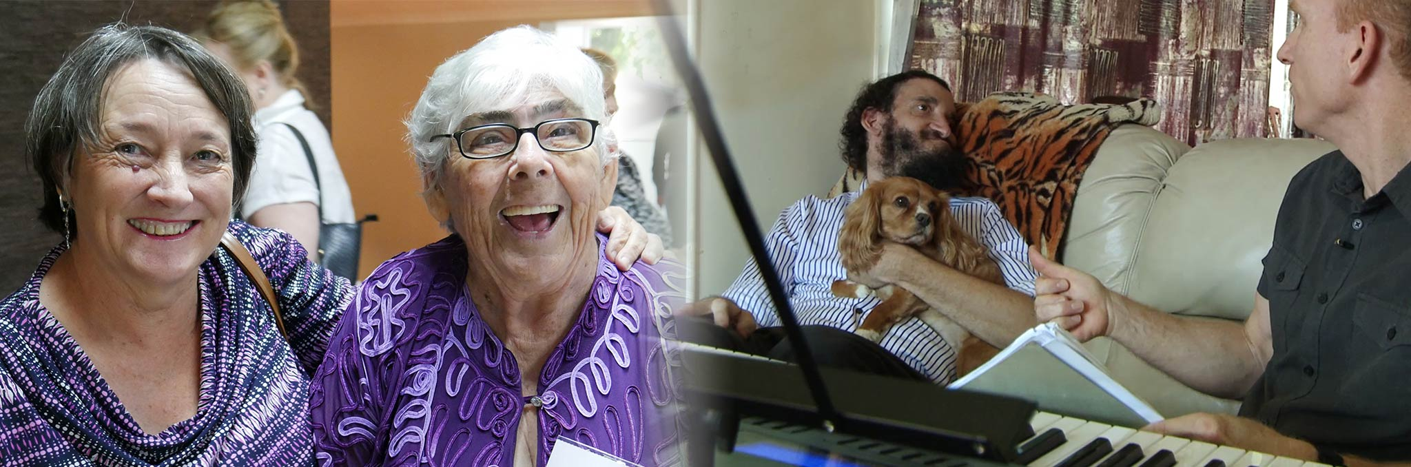 Two images. The first is two older women smiling warmly with their arms around eachother. The second is 2 men sitting at a keyboard.  one of them has a disability