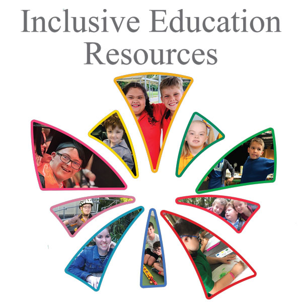 The cru logo redesigned to incorporate photos of a diversity of children within it. The words 'Inclusive Education Resources' are at the top of the image.