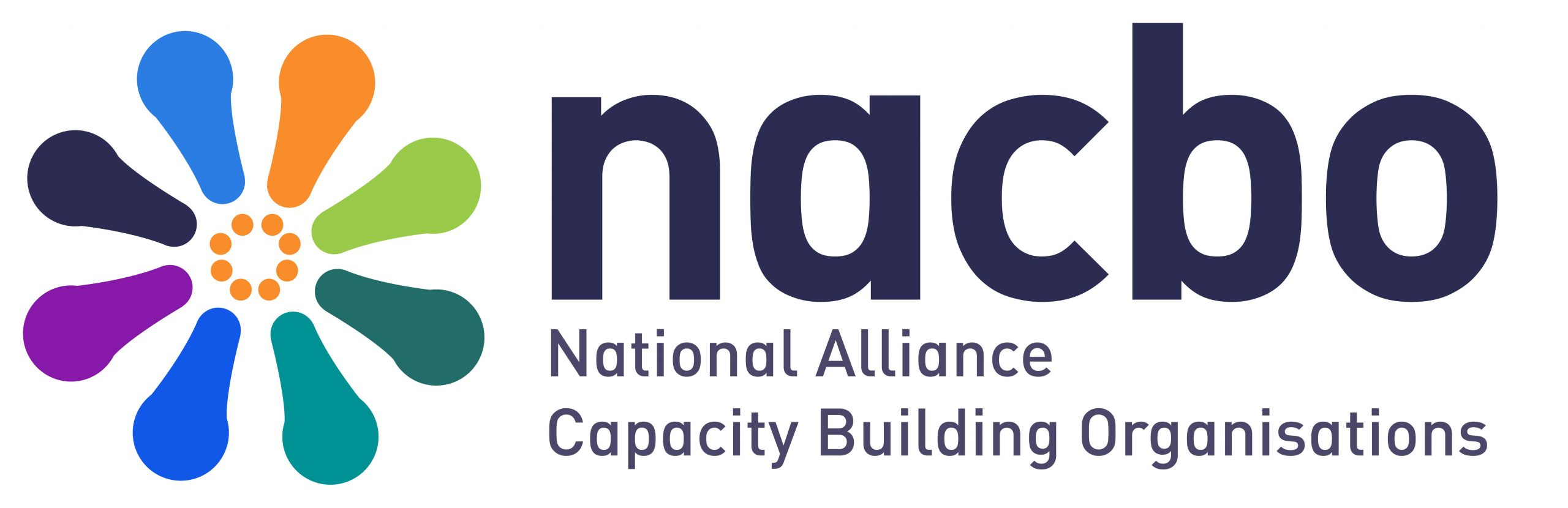 A logo of 8 coloured petals with an orange circle in the middle. It has the word nacbo then National Alliance of Capacity Building Organisations